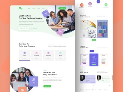 Digital Agency Landing page colorful unique design modern design digital agency agency digital templates clean ui 2019 trends 2019 typography web templates ui web landing page design