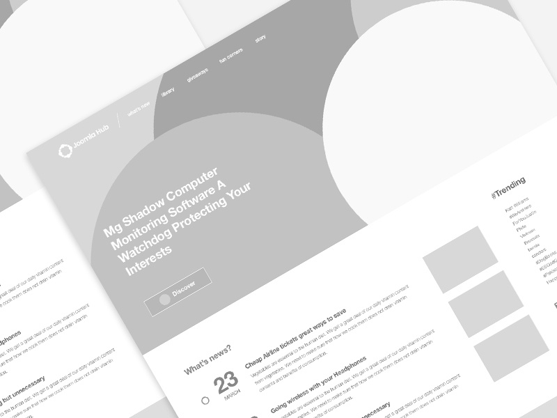 Joomla Hub Wireframe news hub web ui concept blog wireframe website design joomla