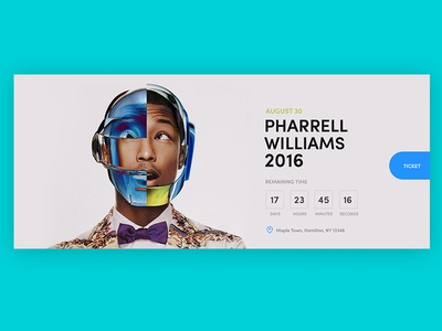 Event box time counter williams pharrell website ui design ticket purchase countdown music box