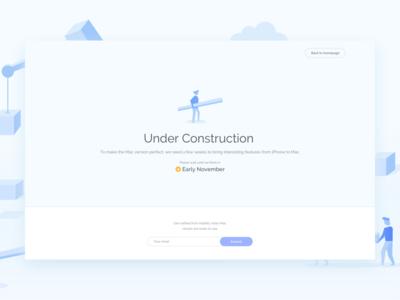 Habitify - Under Construction Page app landing mac blue illustration ux ui design 404 under construction
