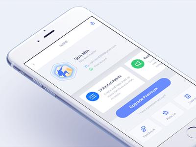 Habitify : More page ux ui vietnam todo habit iphone 7 ios blue upgrade profile