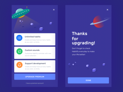 Upgrade page app ui ux design illustration support ufo space sounds habits upgrade thanks