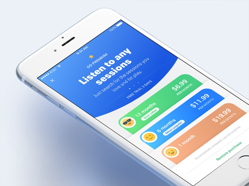 New Project :: Upgrade Premium in app purchase ui subscription premium ios emotions face pricing sessions listen upgrade
