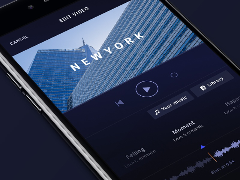 Figmator app - Choose music figmator music iphone moment sound text media editor slideshow video