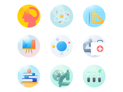 Icon pack humanities natural arts agricultural engineering science social education icon