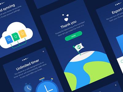 Nirow - Upgrade file timer cloud earth flag illustration ui goals habits tracker automatic upgrade