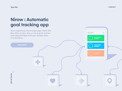 Nirow : Automatic goal tracking app app landing illustration location rescuetime service todo goal habit tracking ui