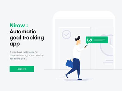 Automatic tracking app productivity done illustration goal habit run phone app