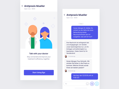 Chat screen chat bot chat box chat app illustration onboarding concept landing page website responcive mobile app health care health app doctor app doctor patient