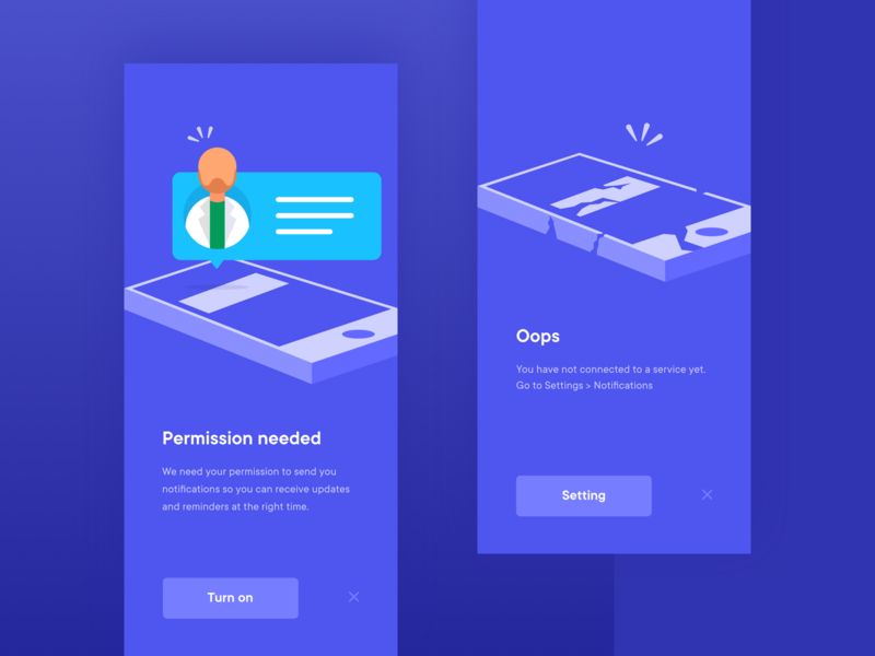 Health Care App - Permissions health coach health care doctor broken phone ui ios notifications permission health app design illustration