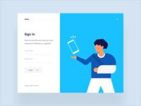 Healthcare App | Sign in phone patients vector sign in form login sign up sign in app website design illustration