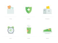 Icon 102x alarm secure folder salads coffee icon illustration
