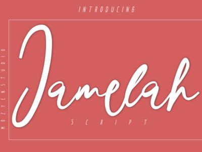 Jamelah calligraphy script handwritten typography brand logo branding