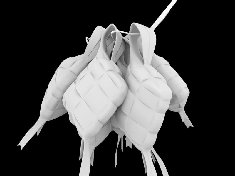 Ketupat Indonesian Food 3d model