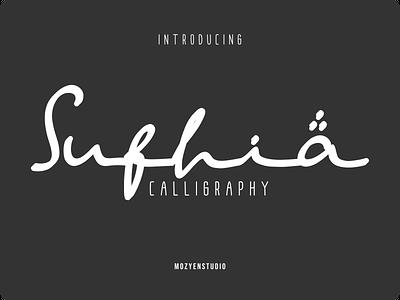 Sufhia handwritten calligraphy scripts app logo branding typography