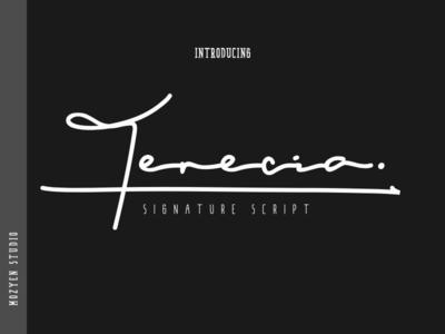 Terecia signature font script typography logo branding