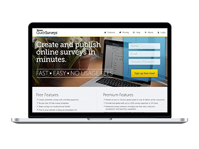 Landing Page free and premium features fast ask toluna quicksurveys surveys register form landing page