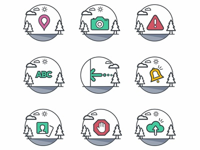 Icons for app yellow red green coloful icons set icons location app user messages message ux location mobile branding vector design ui illustration map app