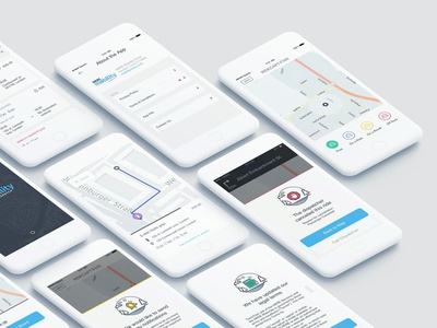 Mobility Drive App For Taxi Drivers ride access page about statuses message maps taxi vector navigation drawer ios illustration design ui ux location map mobile app