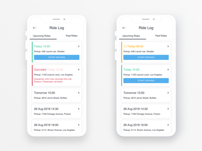 Taxi Driver Ride Log cards ui cards upcoming date calendar ride rides log rides canceled list ios design ux ui location mobile app