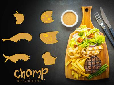Chomp. Bite Sized Recipes design icon typography logo branding illustration