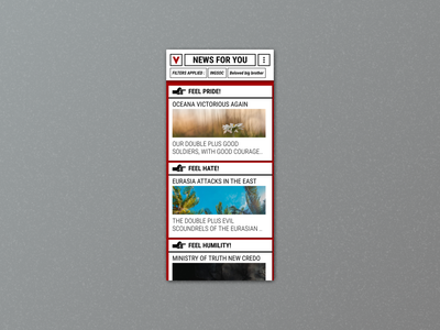 Daily UI 94 1984 ingsoc newsfeed news app news mobile app mobile material design ui dailyui daily 100 challenge daily