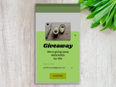Daily UI #001 - Giveaway sign up page daily ui 001 ui  ux ux ui prototype giveaway challenge daily ui mobile apps mobile design app avocado dailyui 001