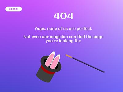 Daily UI #008 - 404 page figma challenge ui design error 404 hat magician website web magic error dailyui 008 dailyui 404 404page