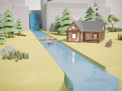 River Forest - Cabin (closeup) lowpolyart low-poly blender 3d lowpoly low poly blender3d blender 3d illustration design