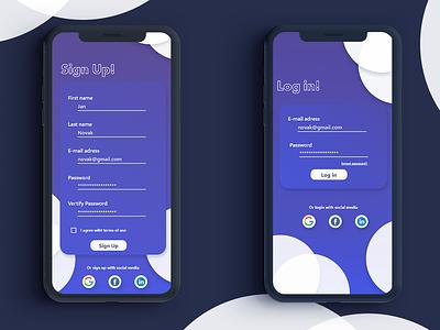Sign Up and Login Screen - UI dailyui 001 dailyuichallenge app ui app ux logo adobe xd ui design dailyui