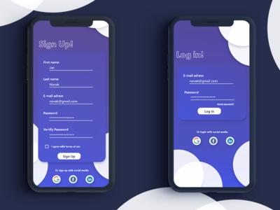 Sign Up and Login Screen - UI