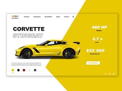 Corvette - E commerce shop      DailyUI  012 branding flat uiux ui website concept website design website dailyuichallenge dailyui app ui adobe xd design