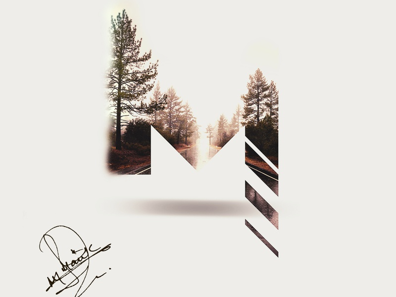 M! colors graphic  design lettering art lettering letter photoshop adobe photoshop cc adobe photoshop logo forest light signature font signature sign mark road trip brushes tree double exposure