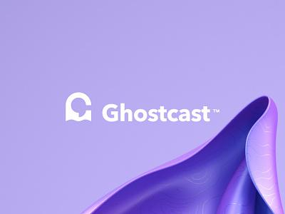 Ghostcast logo vector clean identity brand logo design music hosting podcast logo