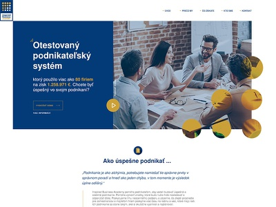 Businessman Education System simple flat gold blue school education page landing web
