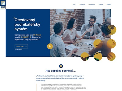 Businessman Education System simple flat gold blue school education page landing web
