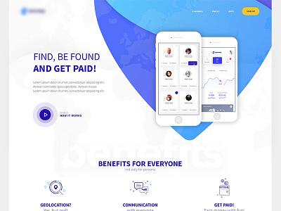 Landing Page design clean flat application app ux ui web page landing