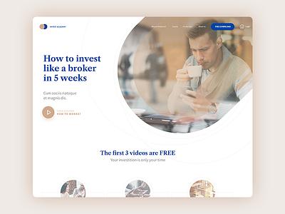 Free PSD - Invest Academy Landing Page mockup web freebie psd free