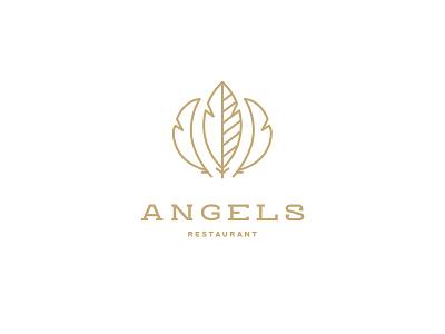 Angels Restaurant logo gold brand logos clean identity restaurant branding restaurant