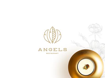 Angels Restaurant Brand Identity food web restaurant gold identity brand logotype logo