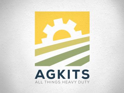 Agkits Logo cog sun fields farming industrial heavy duty agriculture logo farmer