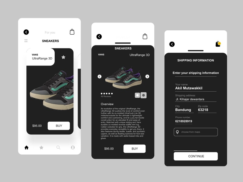 Sneakers app uxdesign uidesign application mobile shoes buying information billing process concept app sneakers