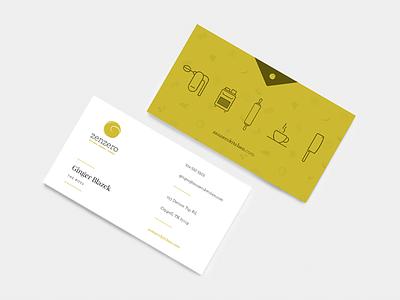 Zenzero Kitchen Business Card bakery coffee logo information branding ux texas dallas print stationery cafe