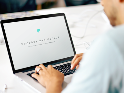 Free MacBook Mockup PSD mac hands branding psd agency freebie photoshop photorealistic mockup apple macbook free