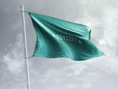 Odyssey Flag startup in the wild identity quotation mark quotes photorealistic branding logo green odyssey flag