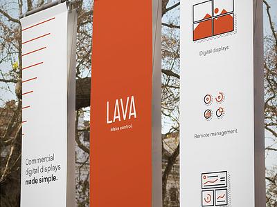 Lava City Banners line startup outdoor mockup dallas advertising ad av display red icon branding