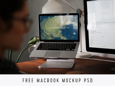 Free MacBook Mockup PSD girl download free branding developer agency photorealistic photoshop psd mockup macbook freebie