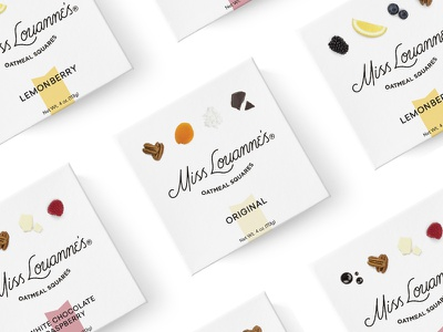 Miss Louanne's Oatmeal Squares Packaging box negative space minimal photography food dallas startup square packaging branding healthy snack