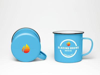 Blazing Brews Enamel Cup Design