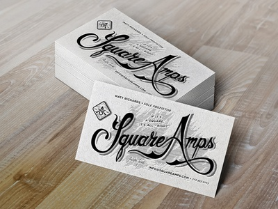 Square Amps Letterpress Business Cards Mockup